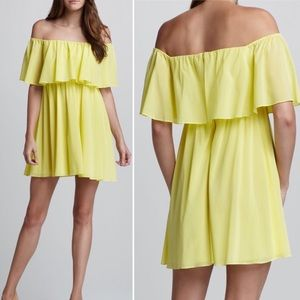 Alice + Olivia yellow silk off-shoulder dress